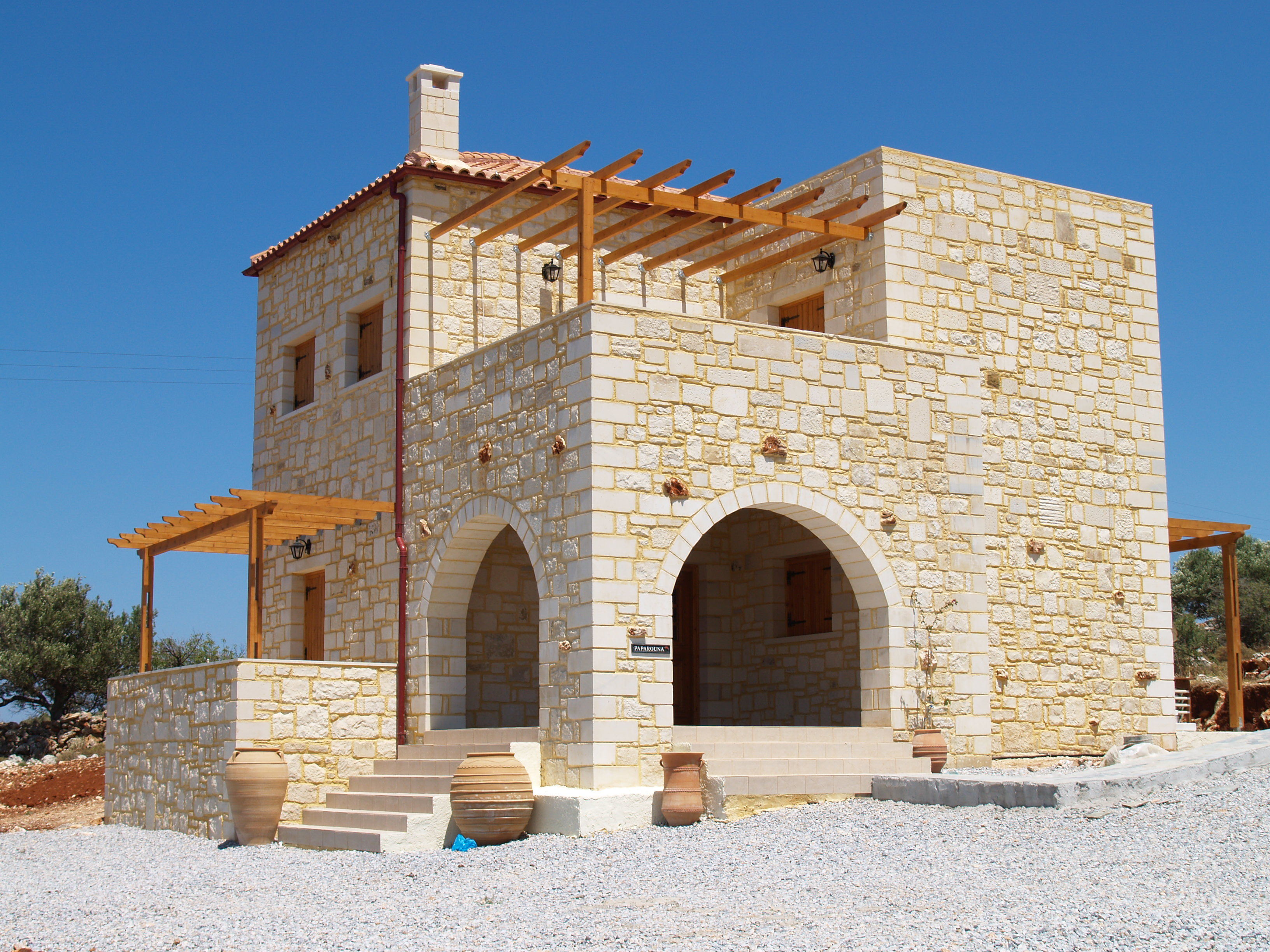 Traditional greek house home design for Home construction styles